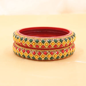 Pair Of Glass Bangle Kada with Three Line stones by Leshya