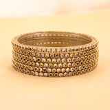 Set of 6 Glass Bangles with Running White Kundan by Leshya