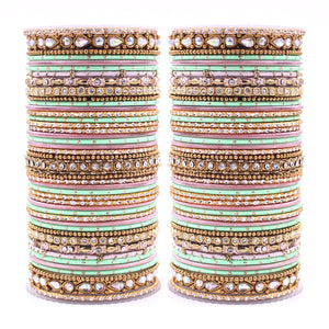 Intricate Dual Colour Pastel Bridal Bangle set