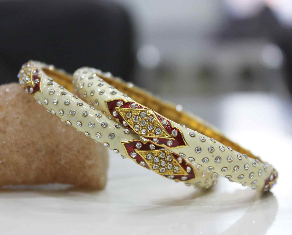 Intricate Meenakari And Stone Work Bracelet Pair