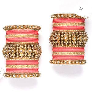 Set of 2 Beautiful Golden Dotted Colored Bangle Set
