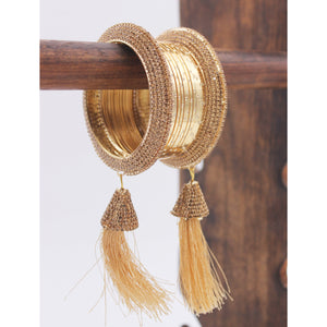 Golden tassel Latkans with Shining Metal Bangles by Leshya
