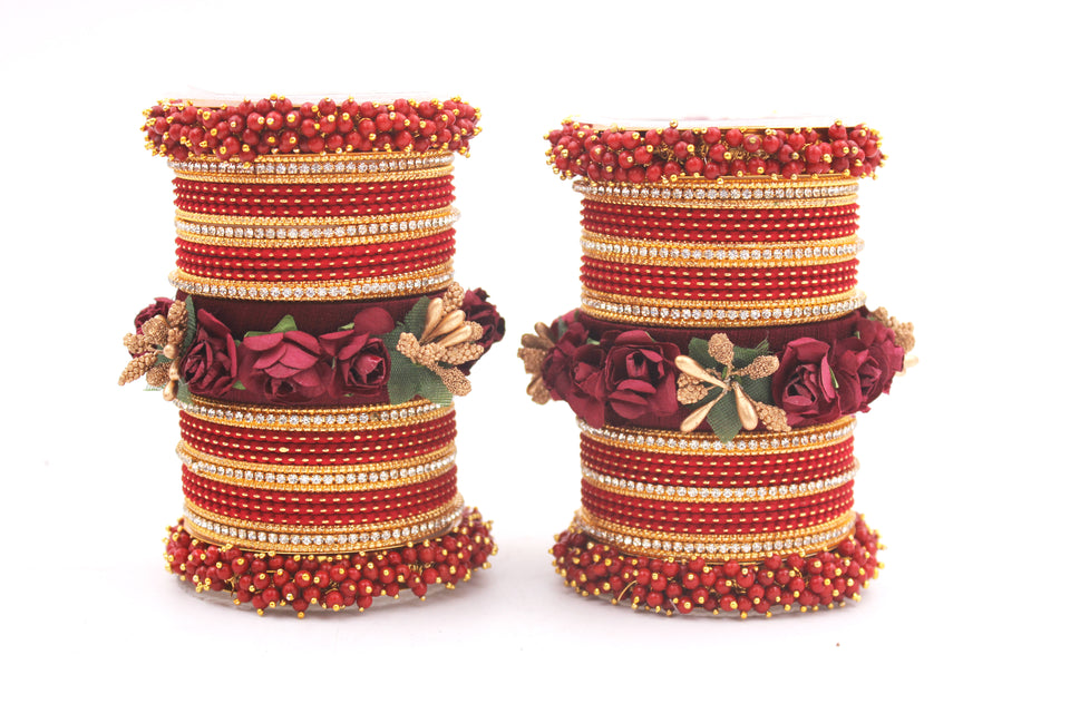 Set of 2 Floral Bridal Bangle sets By Leshya