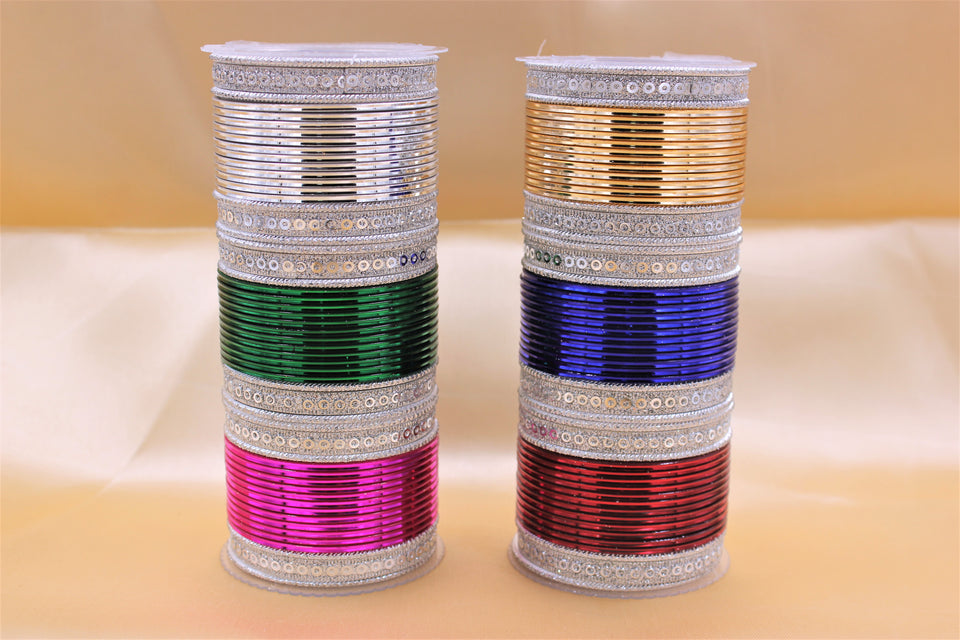 Traditional Indian Bangle Stacks with Silver Kadas and Multiple colours for Partywear