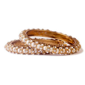 Pearl Bracelet With Golden Lining (2pcs)