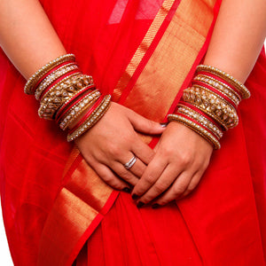 Set of 2 Kundan Bangle Set With Chakri Kada (Plus Size)