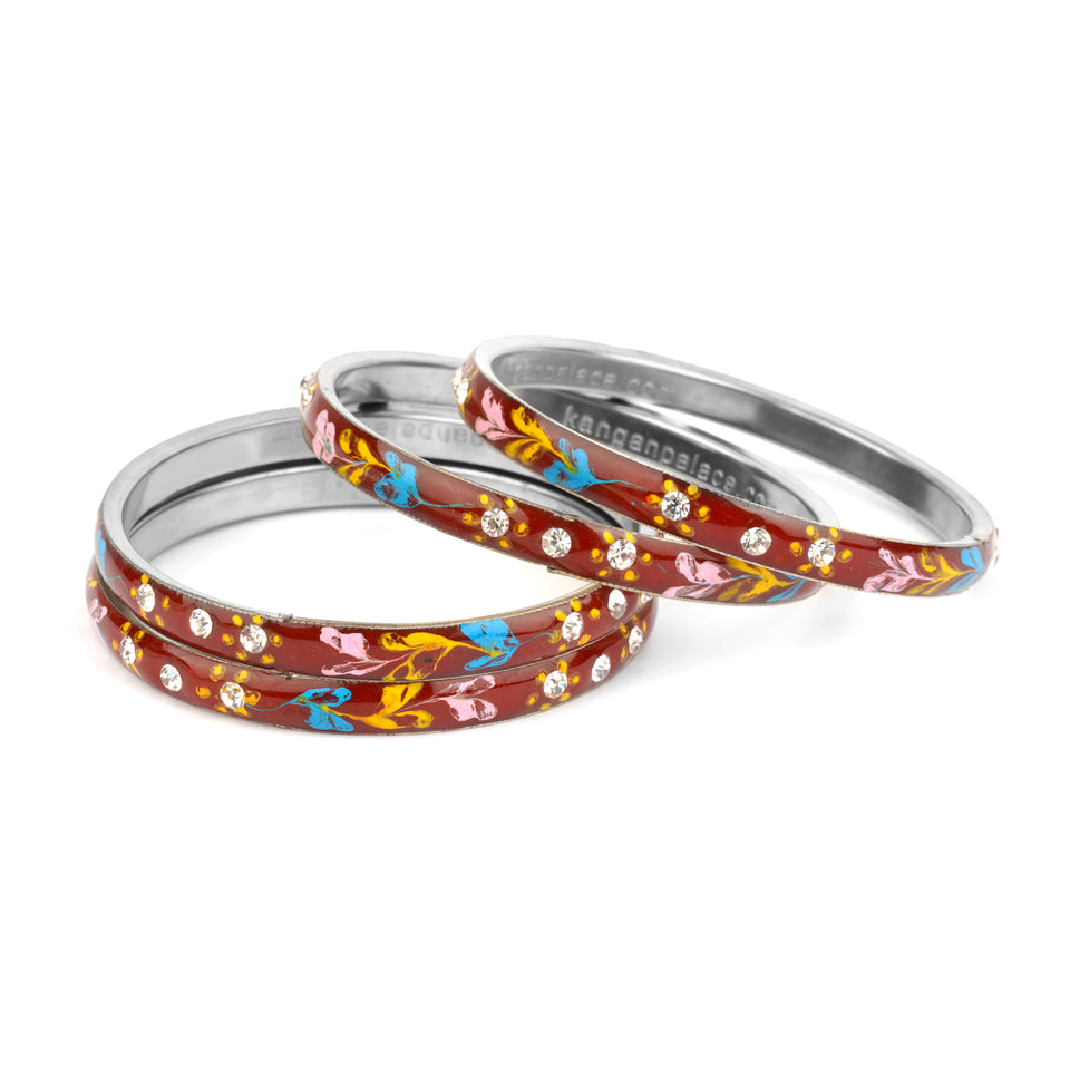 Meenakari Bracelets With Hand Made Floral Design And Stones