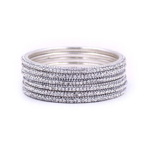 Brass Based Silver Coloured Bangles with Silver Stones by Leshya
