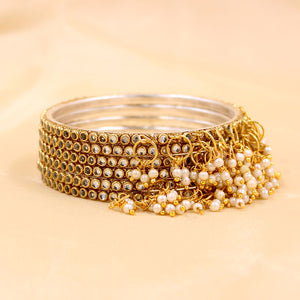 Brass Based Bracelets with Beaded Jhumki by Leshya