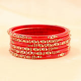 Acrylic Based Bangles with Golden Stonework by Leshya