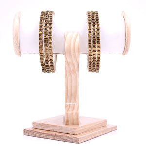 Brass Based Bangles with Square Kundan Stone by Leshya