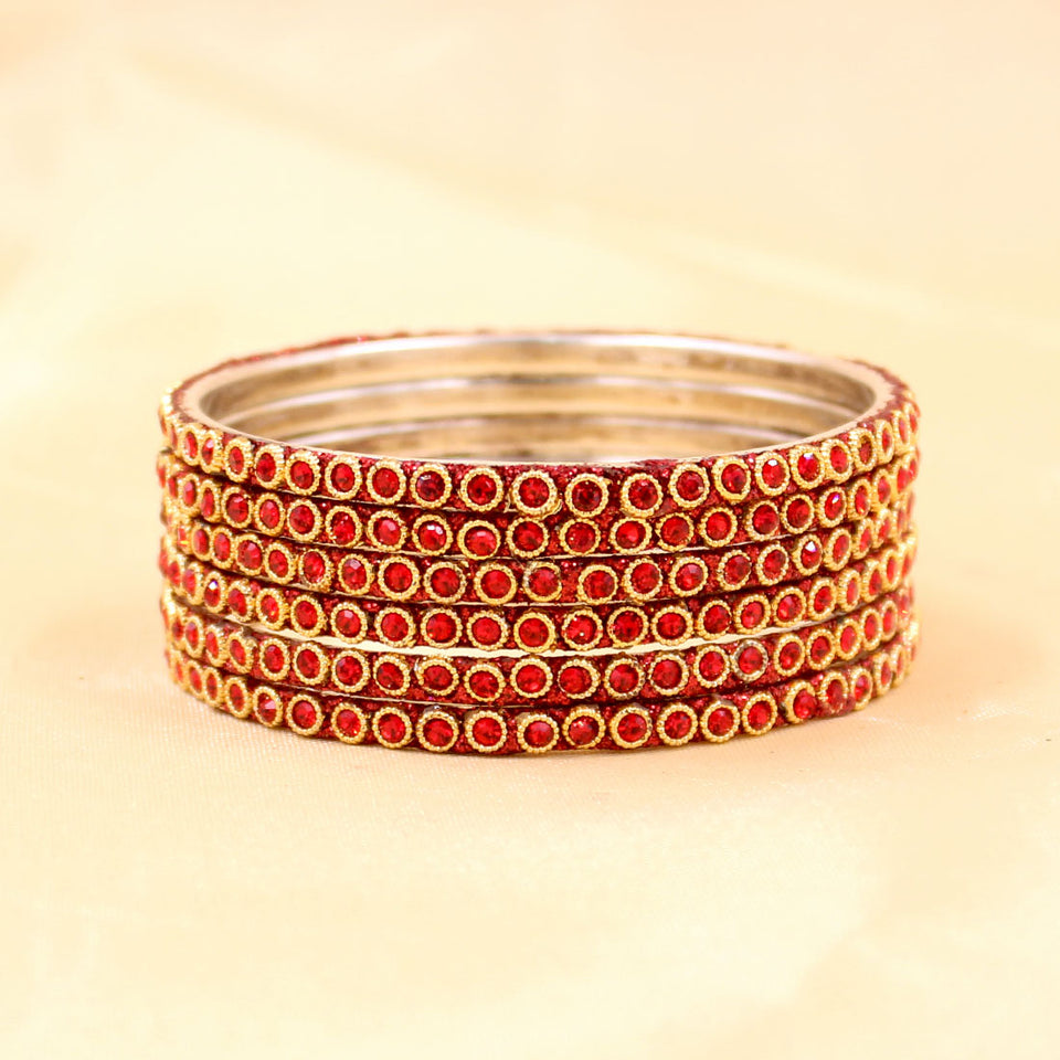 Brass Based Bangles with Round Stone and Zari Work by Leshya