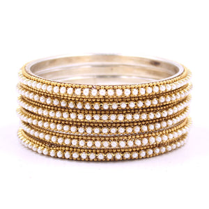 Brass Based Bangles with White Bead and Ball chain Border by Leshya