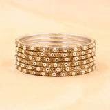Brass Based Bangles with Stone and Bead work by Leshya