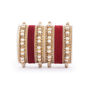 Traditional Velvet Bangle set with Pearl Bangles for Two Hands