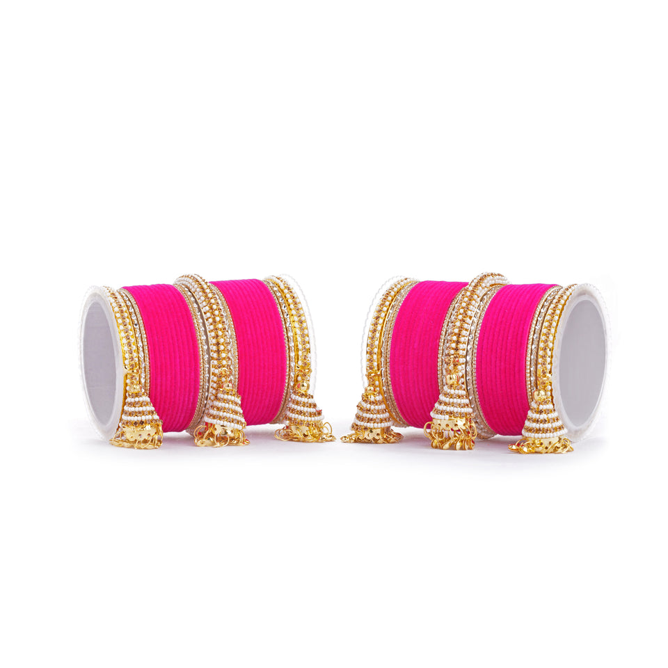 Set of 62 Velvet and Beaded Bangle set with Jhumki for both hands by Leshya