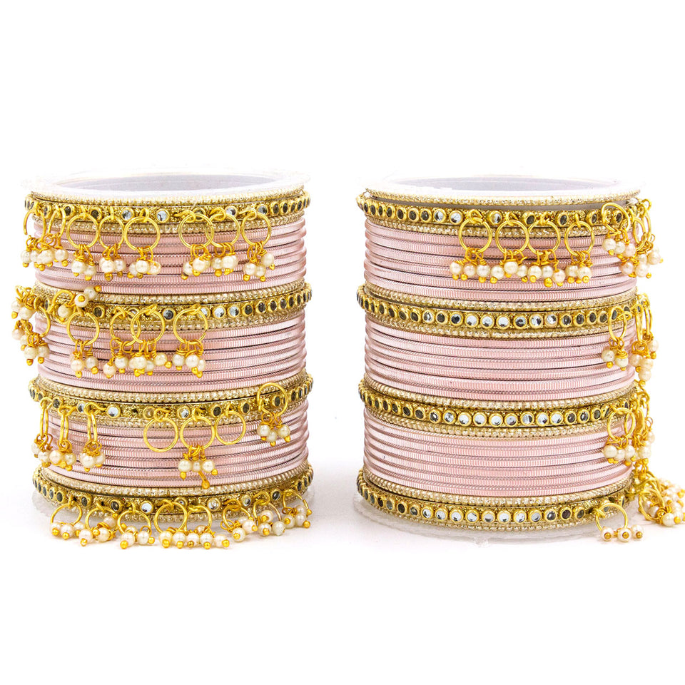 Shining Metal Bangle set with Jhumki for Both Hands by Leshya