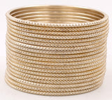 Set of 24 Dotted Shining Glitter Bangles by Leshya (Plus Size)