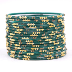 Set of 16 Plain Meenakari Bangles with Golden Stones by Leshya