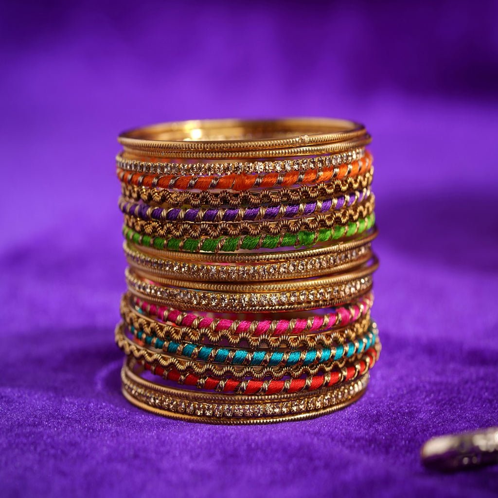 8593b5abafd21 Set of 22 Multi Coloured Silk Thread Bangle set for both hands by Leshya