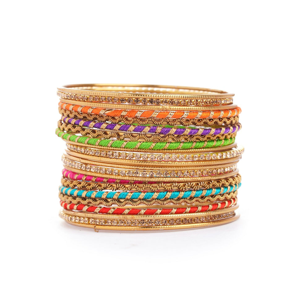 Set of 22 Multi Coloured Silk Thread Bangle set for both hands by Leshya