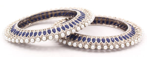 Traditional Bracelet Pair with Running kundan stone and Pearl Centre