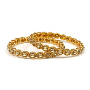 Set of 2 Golden Bracelets with Golden Kundan Stone