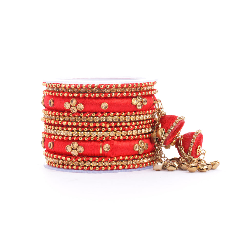 Set of 14 Silk Thread Jhumki Bangles designed for both hands by Leshya