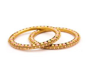 Multicoloured Golden Stone bracelet pair for Women by Leshya