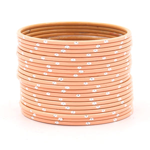 Set of 24 Matte Textured Bangles with Silver Dots by Leshya