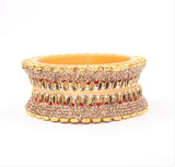 Traditional Bridal Chura Kada with Golden Kundan Pair by Leshya