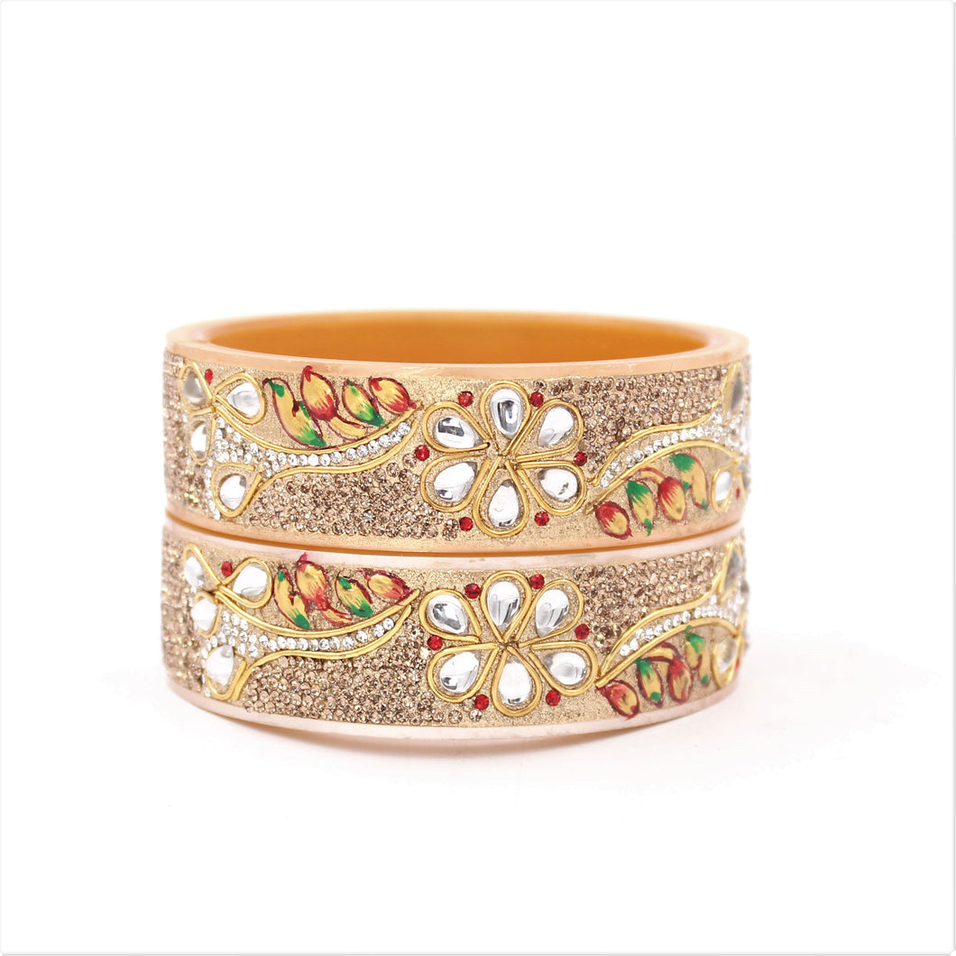 Bridal Chura Kada with Hand painted design and running kundan stones by Leshya