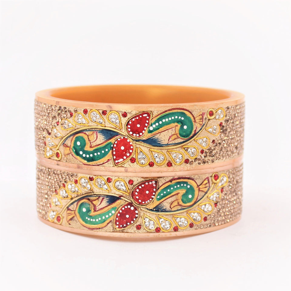 Bridal Chura Kada with Red and Green Peacock design by Leshya