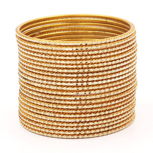 Set of 24 Shining Metal Bangles for Mixing by Leshya