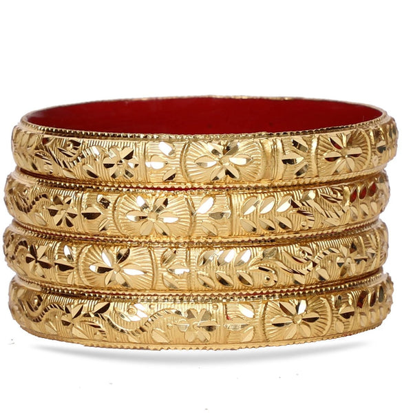 Guarantee Gold Dyed Bracelet With Floral Design