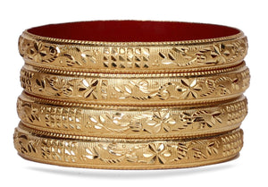 Guarantee Gold Dyed Bracelets With Floral And Block Design
