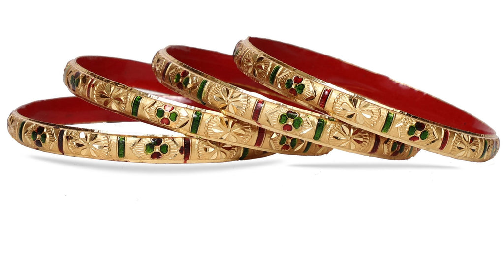 Guarantee Gold Dyed Bracelets With Multi-Color Floral Design