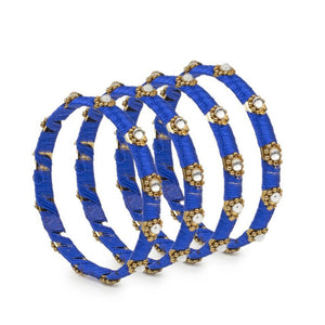 Set of 4 Silk Thread Bracelets with Kundan Style Stone
