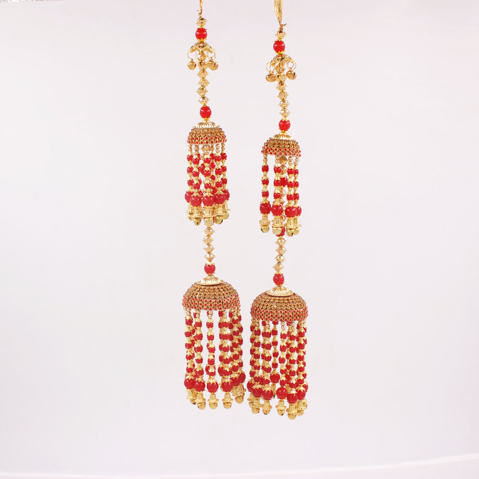 Classic Jhumar Style Kaleere in Red and White by Leshya