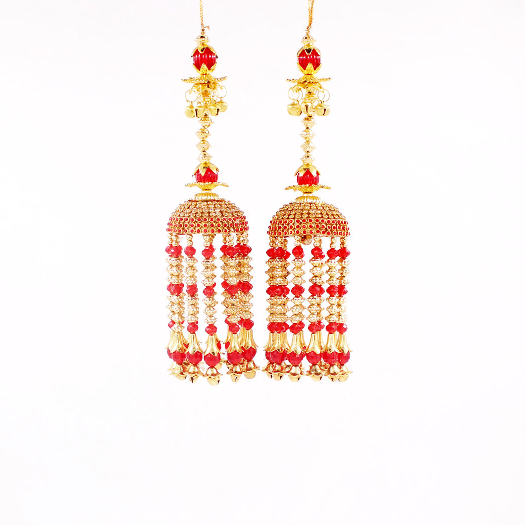 Traditional Red and Golden Jhumar Kaleere by Leshya