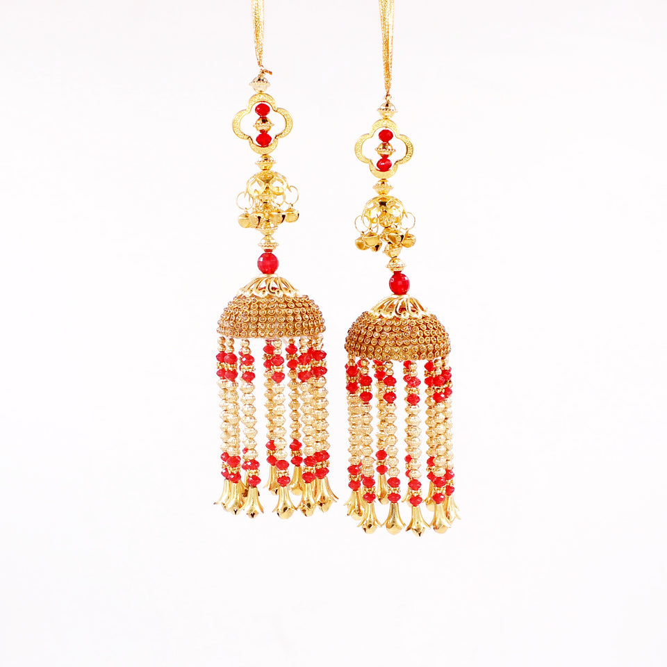 Traditional Red Jhumar Kaleere with white Moti Work by Leshya