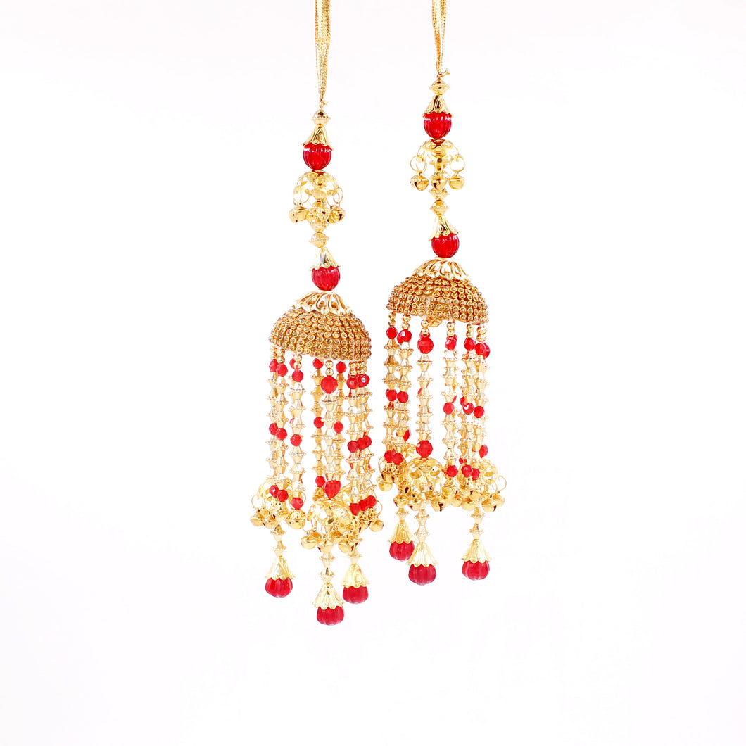 Traditional Red Jhumar Kaleere with white and Golden Moti Work by Leshya