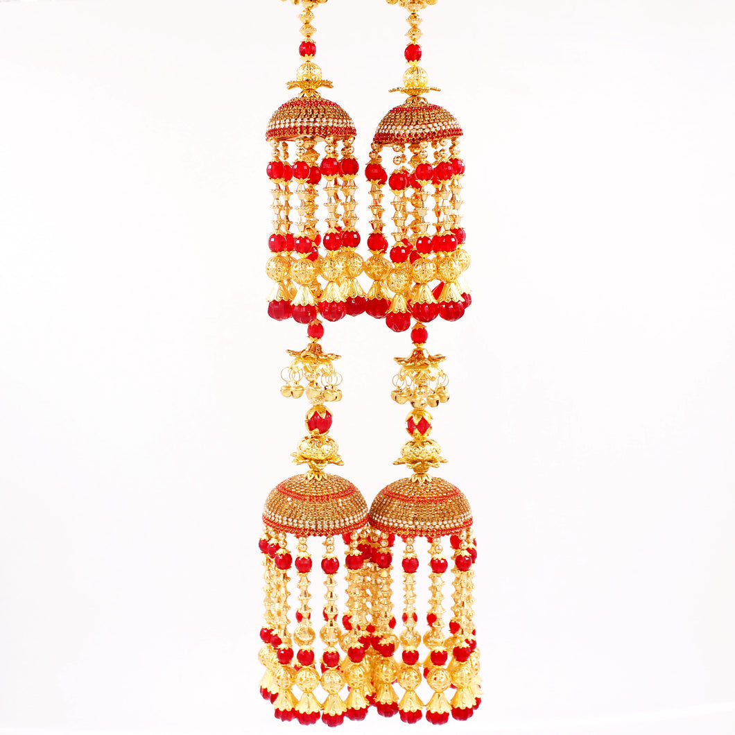Traditional Two-Tier Jhumar Kaleere with Long Golden Bead hanging by Leshya