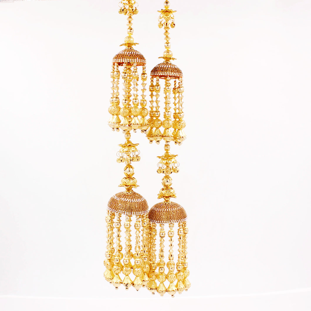 Traditional Two-Tier Jhumar Kaleere with Full Golden Bead hanging by Leshya