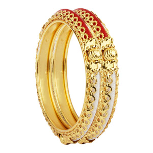 Traditional Red-Green Kada Pair with Intricate Jaaliwork Border for Women by Leshya