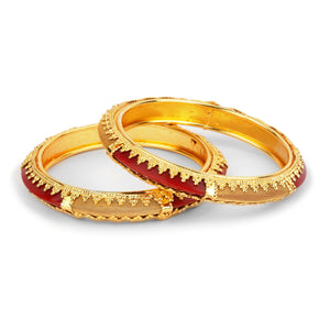 Traditional Red Kada Pair with Intricate Jaaliwork And Wire Mesh Design for Women by Leshya