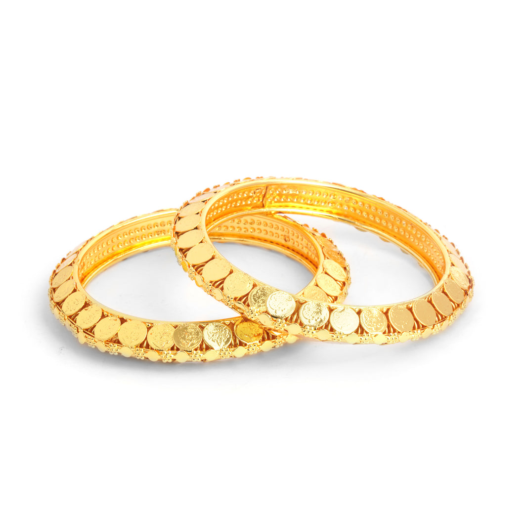 Traditional Golden Bracelet Pair with God Symbols for Women