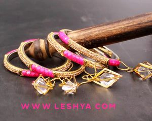 Set of 4 Lac with Golden stone Dangler Bangles by Leshya