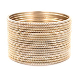 Set of 24 Plain Running Dotted One-Piece Metal Bangles by Leshya