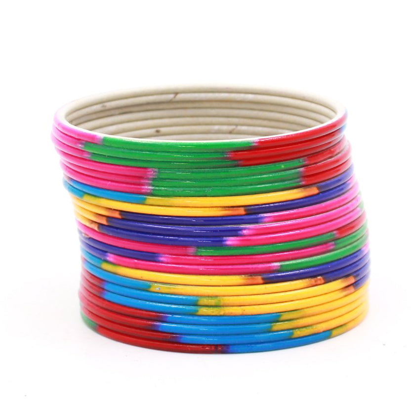 Set of 24 Look-Like Glass Metal Bangles by Leshya
